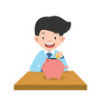 businessman putting coin with piggy bank concept vector image vector image