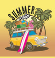car sumer trip beach travel vector image