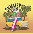 car sumer trip beach travel vector image