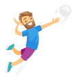 caucasian white sportsman playing volleyball vector image