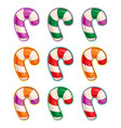 christmas icon set - candy cane purple green red vector image