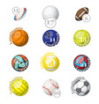 color sport balls with names and numbers vector image vector image