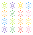 colorful line web icon set with hexagon frame vector image vector image