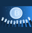 concept crypto currency hands reach for vector image