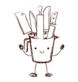 container with knives cartoon in brown blurred vector image vector image