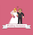 cute cartoon bride and groom vector image vector image