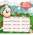 Cute Monkeys 2017 Calendar Starts Sunday vector image vector image