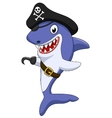 Cute pirate shark cartoon vector image