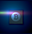 digital bitcoin symbol on dark blue technology vector image vector image
