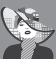 double exposure Woman with city in her hat vector image vector image