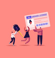 driver license concept male female characters vector image