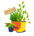 earth day flower pot vector image vector image