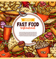 fast food restaurant menu sketch promo poster vector image