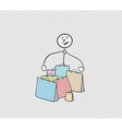 few bags for shopping and person vector image vector image