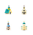 flat icon church set of religious church vector image vector image