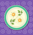 fried egg with parsley on the plate vector image