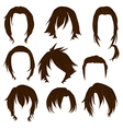 Hair styling for woman drawing Brown Set 3 vector image vector image