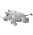 happy rhino cartoon running vector image vector image