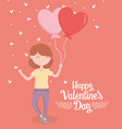 happy valentines day young woman with balloons vector image