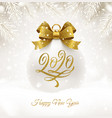 holiday white bauble with glitter gold bow ribbon vector image vector image