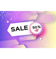 holographic sale banner in paper cut style vector image vector image