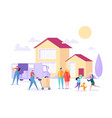 home move with removal porter help happy family vector image