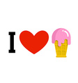 I love ice-cream Cold dessert and heart Logo for vector image vector image