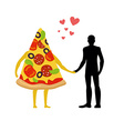 In love with pizza man Man and slice of pizza vector image