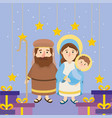 joseh and mary with jesus and stars with presents vector image vector image