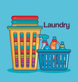 laundry service clean baskets with cloth and