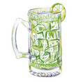 lime juice and ice in glass cup for beer vector image