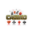 logo text casino and playing cards for ui game vector image vector image