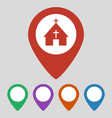 map pointer with church icon on grey background vector image vector image