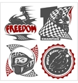 Motorcycle racers emblems set in the vector image