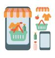online shop flat set vector image