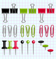 Paper clips and buttons on the notebook sheet vector image
