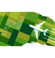 plane flies over green fields vector image vector image