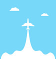 plane launch to sky against isolated on a blue vector image vector image