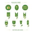 plastic free icon set vector image