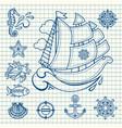 sea set sea and nautical decorations vector image vector image