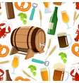 seamless pattern of beer icons vector image vector image