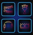 set line crown headphones carnival garland vector image vector image