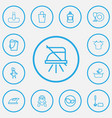 set of 13 editable cleaning icons line style vector image