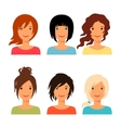Set of beautiful young girls with various hair vector image vector image