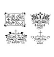 set with 4 hand lettering inscription faith hope vector image vector image