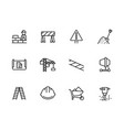 simple set symbols building construction and vector image