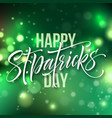 st patricks day card greeting lettering on green vector image