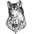 Stylized wolf head with nature landscape