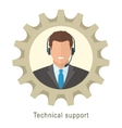 Technical support man with headphones vector image vector image