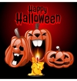 Three pumpkins and candles Happy Halloween vector image vector image